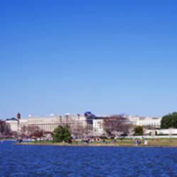 Memorials at the waterfront, Jefferson Memorial, Washington Monument, Washington DC, USA