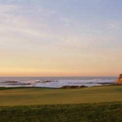 Golf course on the coast, Half Moon Bay, California, USA