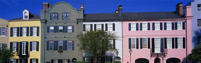 Buildings in a city, Rainbow Row, Charleston, South Carolina, USA