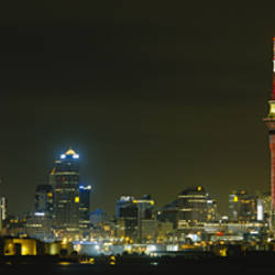 Buildings lit up at night, Sky Tower, Auckland, New Zealand