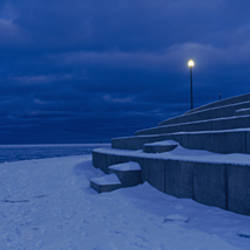 Snow on steps at the lakeside, Lake Michigan, Chicago, Cook County, Illinois, USA