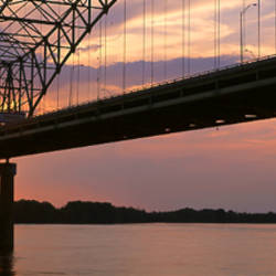 Sunset, Hernandez Desoto Bridge And Mississippi River, Memphis, Tennessee, USA
