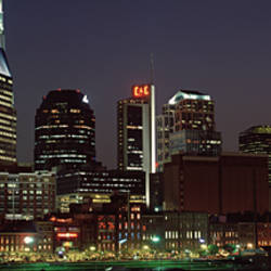 Buildings lit up at dusk, Nashville, Tennessee, USA