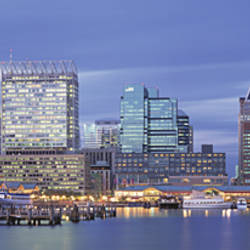Panoramic View Of An Urban Skyline At Twilight, Baltimore, Maryland, USA