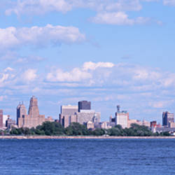 Buildings at the waterfront, Buffalo, Niagara River, Erie County, New York State, USA