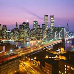 Buildings lit up at night, World Trade Center, Manhattan, New York City, New York State, USA