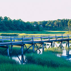 Reflection of a footbridge in water, Wellfleet, Cape Cod, Massachusetts, USA
