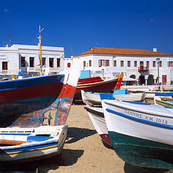 Rowboats on a harbor, Mykonos, Greece