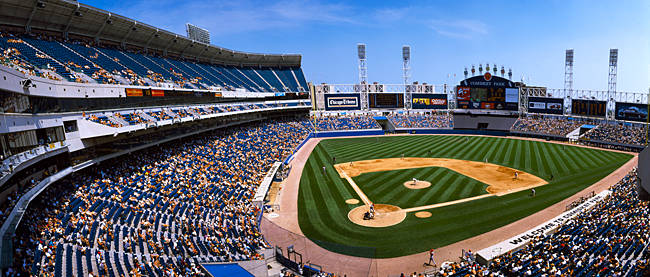 High angle view of a baseball stadium, U.S. Cellular Field, Chicago, Cook County, Illinois, USA
