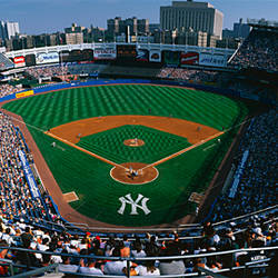 High angle view of a baseball stadium, Yankee Stadium, New York City, New York State, USA