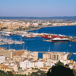 High angle view of buildings at the waterfront in a city, Palma, Majorca, Spain