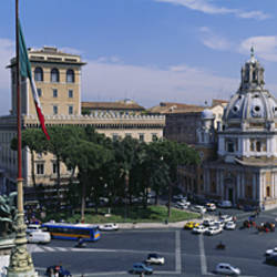 High angle view of traffic on a road, Piazza Venezia, Rome, Italy