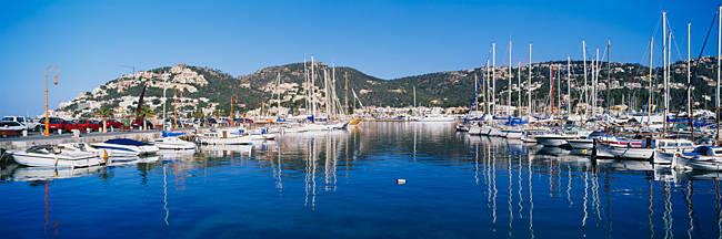 Boats docked at the harbor, Port D'Andratx, Fisherman's Port, Majorca, Spain