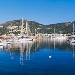 Boats docked at the harbor, Port D'Andratx, Fisherman's Port, Majorca, Spain