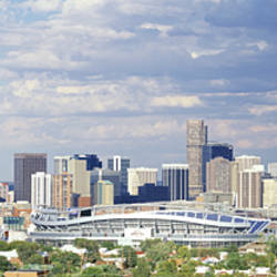 USA, Colorado, Denver, Invesco Stadium, High angle view of the city