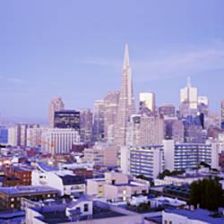 High Angle View Of The City At Dusk, San Francisco, California, USA