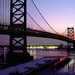 Suspension bridge across a river, Ben Franklin Bridge, Philadelphia, Pennsylvania, USA