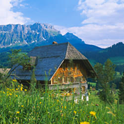 Chalet and a church on a landscape, Emmental, Switzerland