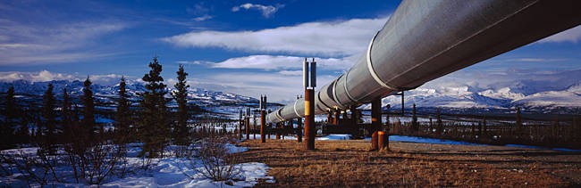 Pipeline passing through a snow covered landscape, Trans-Alaskan Pipeline, Alaska, USA