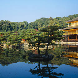 Reflection of a temple in a pond, Kinkaku-Ji Temple, Kyoto City, Kyoto Prefecture, Kinki Region, Japan
