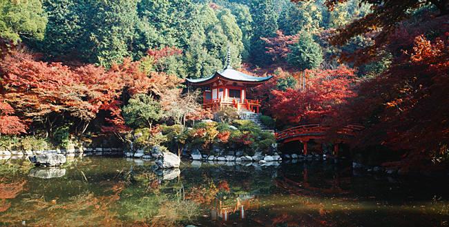 Temple behind a pond, Daigo-Ji Temple, Kyoto City, Kyoto Prefecture, Kinki Region, Japan