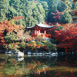 Temple behind a pond, Daigo-Ji Temple, Kyoto City, Kyoto Prefecture, Kinki Region, Japan
