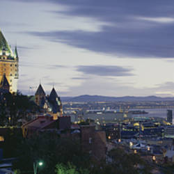 Building lit up at dusk, Chateau Frontenac, Quebec City, Quebec, Canada