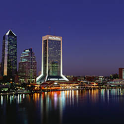 Buildings Lit Up At Night, Jacksonville, Florida, USA