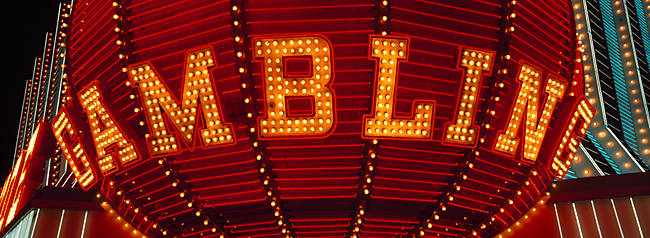 Close-up of a neon sign of gambling, Las Vegas, Clark County, Nevada, USA