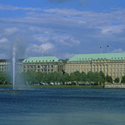 Buildings on the waterfront, Alster Lake, Hamburg, Germany