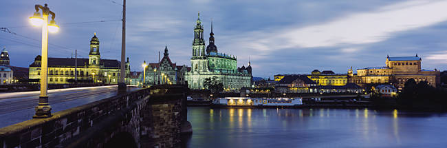 City Lit Up At Dusk, Dresden, Germany