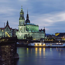 City Lit Up At Dusk, Dresden, Germany
