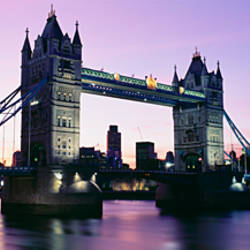 Bridge at dusk, Tower Bridge, Thames River, London, England