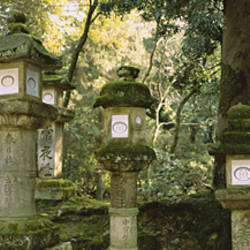 Low angle view of stone lanterns, Kasuga Taisha, Nara, Japan