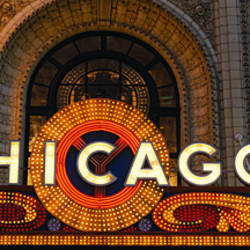 Close-up of the entrance of a stage theater, Chicago Theater, Chicago, Illinois, USA