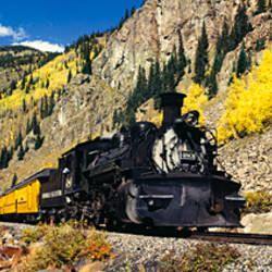 Steam train on railroad track, Durango And Silverton Narrow Gauge Railroad, Silverton, Colorado, USA