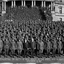 Review of the 20th engineers By Secretary of War Newton D. Baker at the State War and Navy Building Washington DC November 10 1917