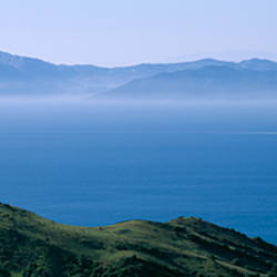 View of Morocco across the Strait Of Gibraltar, near Tarifa, Cadiz Province, Andalusia, Spain