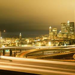 Buildings lit up at night, Seattle, Washington State, USA
