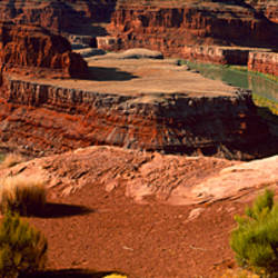 High angle view of a river flowing through a canyon, Dead Horse Point State Park, Utah, USA