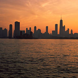 Silhouette of buildings at the waterfront, Navy Pier, Chicago, Illinois, USA
