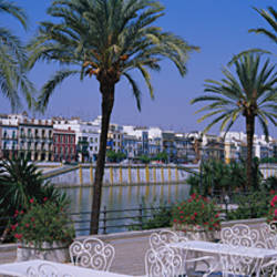 Sidewalk cafe at the riverside, Guadalquivir River, Seville, Spain