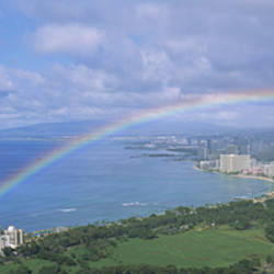 Rainbow Over A City, Waikiki, Honolulu, Oahu, Hawaii, USA
