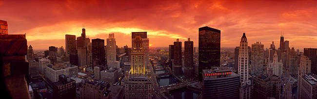 Sunset cityscape Chicago IL USA