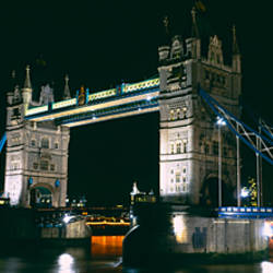 Bridge lit up at night, Tower Bridge, London, England