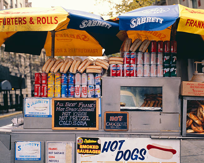 Food products for sale at a street vendor, New York State, USA