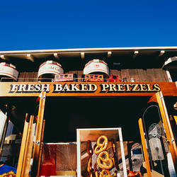 Low angle view of pretzels hanging in front of a shop, San Francisco, USA
