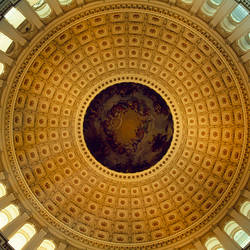 Architectural details of the ceiling of Capitol Building rotunda, Washington DC, USA