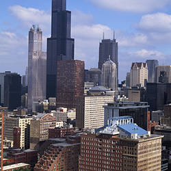 High angle view of a city, Sears Tower, Chicago Loop, Chicago, Cook County, Illinois, USA