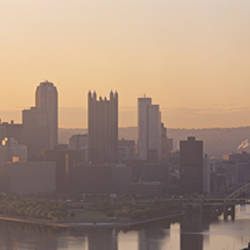 USA, Pennsylvania, Pittsburgh, Allegheny & Monongahela Rivers, View of the confluence of rivers at twilight